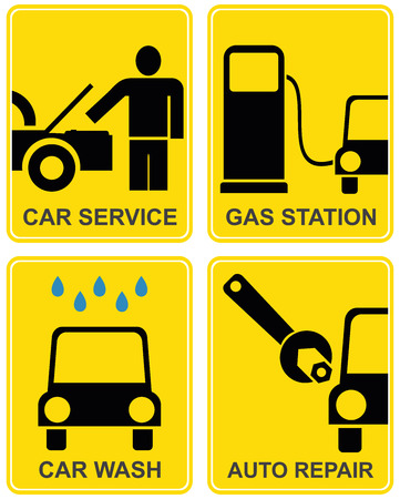 Auto service - set of icons. Information signs for car service, car wash, fuel station. Yellow and black. illustrations. Vector