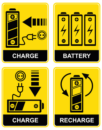 voltage danger icon: Set of icons - charging and recharging the accumulator battery. Yellow and black. Pictograms.