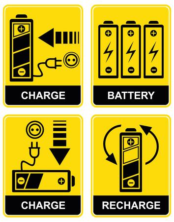 baterii: Zestaw ikon - ładowania i ładowaniem baterii akumulatorów. Żółty i czarny. Piktogramy.