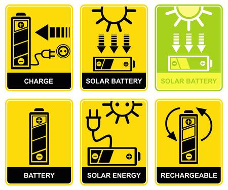 recarga: Conjunto de signos - carga y recarga. Bater�a de acumuladores solares. Iconos amarillos y negros. Pictogramas.