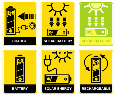 accumulator: Set of signs - charge and recharge. Solar accumulator battery. Yellow and black icons. Pictograms. Illustration