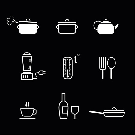 Set of vector icons for restaurant, bar, cafe, etc. Kitchen signs. White image (outline) on black background.  Vector