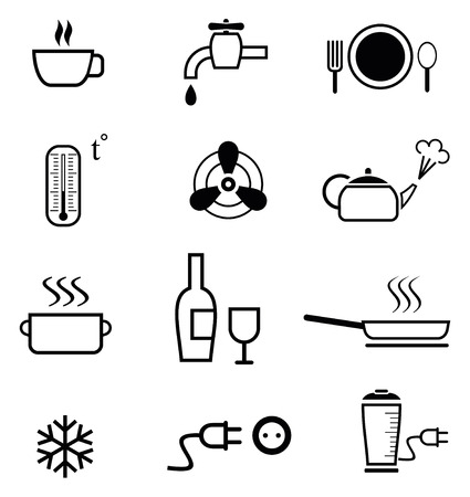 ventilate: Set of vector icons for restaurant, bar, cafe, etc. Kitchen signs. Black and white outline pictograms.