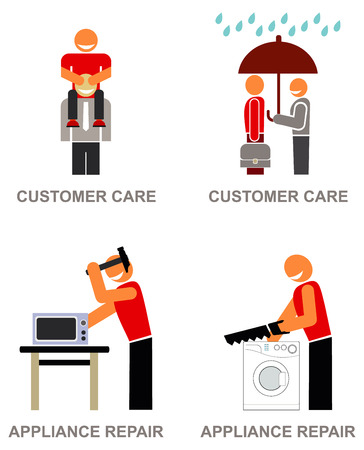 microwave ovens: Service workers - set of vector icons. A worker holds an umbrella over the client. Man repairing a washing machine. Man knocking hammer on microwave ovens. Smiling customer service representative caring the client on his sholders, helping him out.