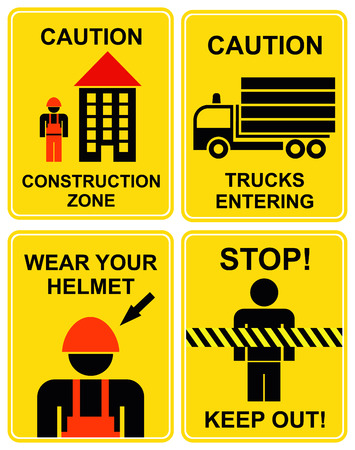 Set of caution signs for construction zone. Yellow and black icons. Construction area. Trucks entering. Wear your helmet. Stop, keep out, keep away, do not cross. Vector