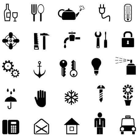 rubinetti: Set di icone domestici vettoriali. Pittogrammi di bianco e nero.  Vettoriali