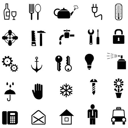 hand tool: Set of vector household icons. Black and white pictograms.