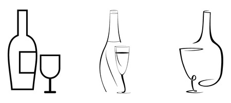 glass of white wine: Stylized vector image - bottle of wine and glass.  Black outline on white background.