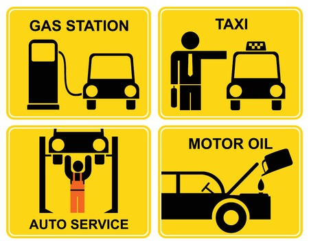 black cab: A set of vector signs for car service or fuel station. Yellow and black icons. Illustration