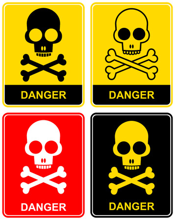 Label Danger with a skull and crossbones. Stylized icon. Warning, caution. Stock Vector - 6320695