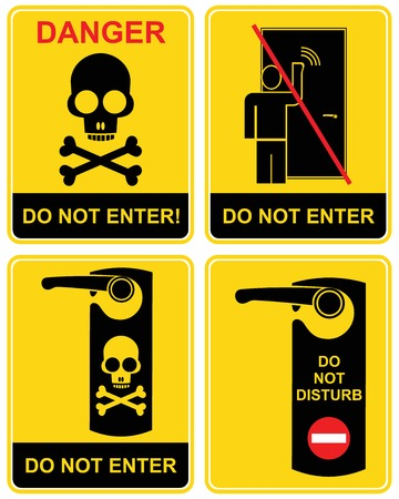 knocking: Do not enter, do not disturb, Danger - a set of prohibition signs. Black and yellow  icon - a man knocks on the door, the skull and crossbones. Caution, warning, stop. Keep away, out.