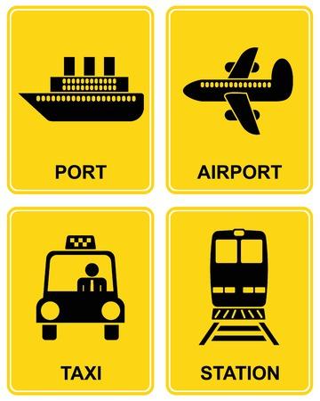 harbour: Aeroporto, stazione ferroviaria, stazione ferroviaria, taxi parcheggio, porto di mare - impostare dei segni di informazioni. Icona gialla e nera.