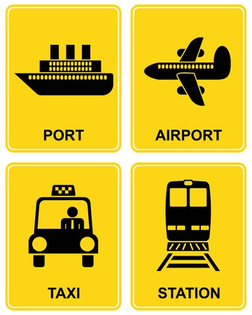 departures: Airport, railway station, train station, taxi parking, sea port - set of information signs. Yellow and black icon. Illustration