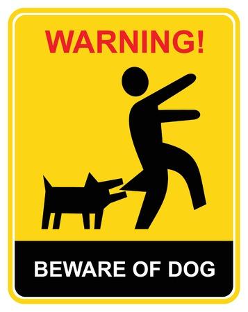 dog bite: Attenzione del cane pazzo - segnale di avvertimento. Icona gialla e nera vecror. Tenere fuori.  Vettoriali