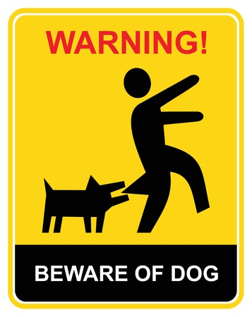 warn: Beware of the mad dog - warning sign. Yellow and black vecror icon. Keep out. Illustration
