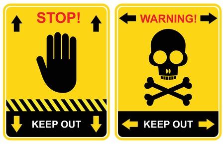 signos de precaucion: Conjunto de advertencia de signos - mantener fuera, parada.
