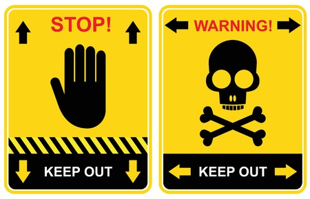 Set of warning signs - keep out, stop.