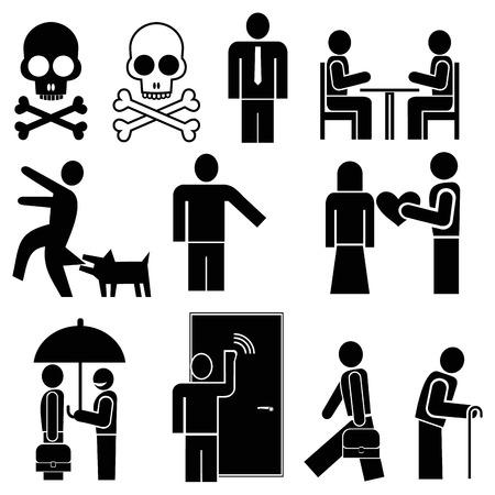 dog bite: Impostare dei pittogrammi - persone impegnate in varie occupazioni.  Vettoriali