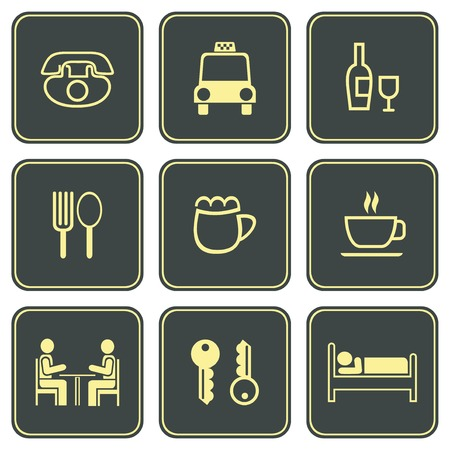 motel: Yellow icons on grey background. Can be used in hotels, campgrounds, motels, etc.
