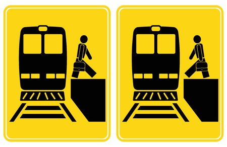 gets: Person gets out of the train, person gets into the train. Set of signs. Yellow and black icons.  Illustration