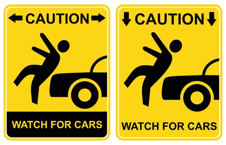 Pedestrian sign - Caution, watch for cars (Warning - cars, attention, danger - watch for traffic). Yellow and black icon.