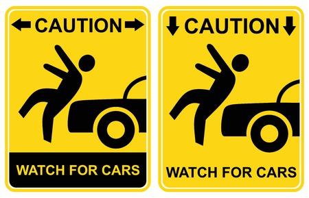 pedestrian sign: Segno pedonale - attenzione, guarda per automobili (avviso - automobili, attenzione, pericolo - orologio per il traffico). Icona gialla e nera.