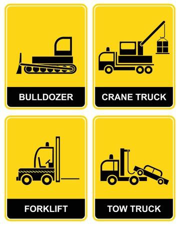 Bulldozer, crane truck, tow truck and forklift - Yellow and black caution signs.