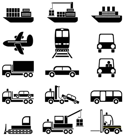 Transport and special vehicles - a set of black & white vector icons, pictograms.  Vector