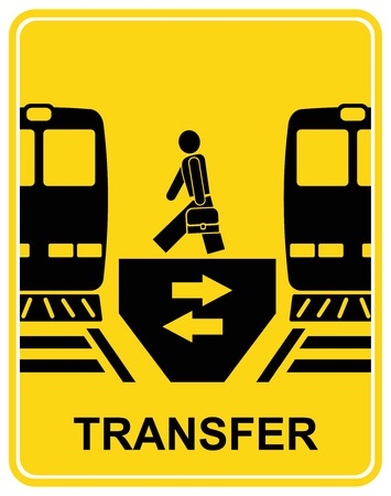 Transfer railway station - black and yellow information sign Vector