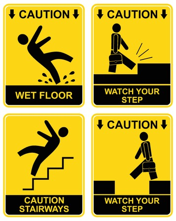 Wet floor, stairways, watch your step - set of vector caution signs. Yellow and black warning icons. Stop ahead, warning - go slow, warning- tripping hazard Vector