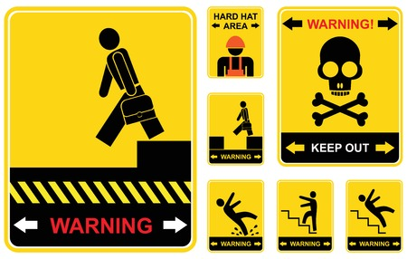 Set of yellow and black caution signs.