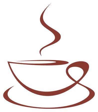 Foto van gestileerde koffiekopje op witte achtergrond.