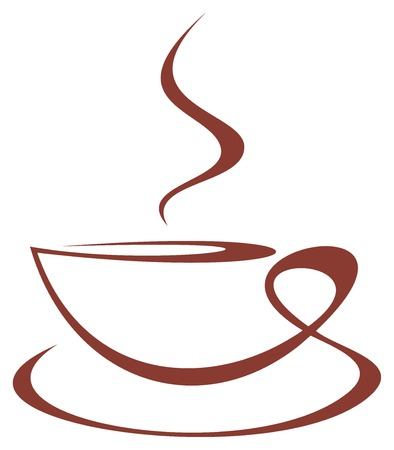 image of stylized coffee cup on white background.