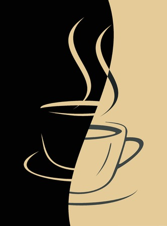 menue:  image of coffee cup on black and beige backgrounds