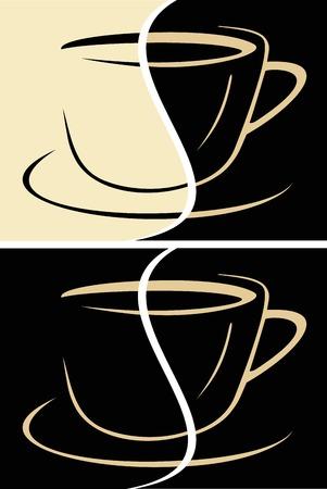 cappucino: Kopje koffie latte illustratie. Koffie melk, room.  Stock Illustratie