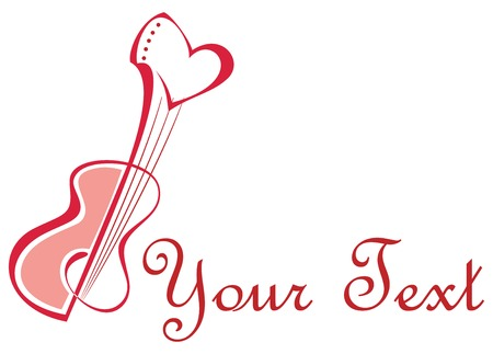 guitar: Stylized image of guitar with heart. Romantic guitar, love songs. Pink and red outline on white background.