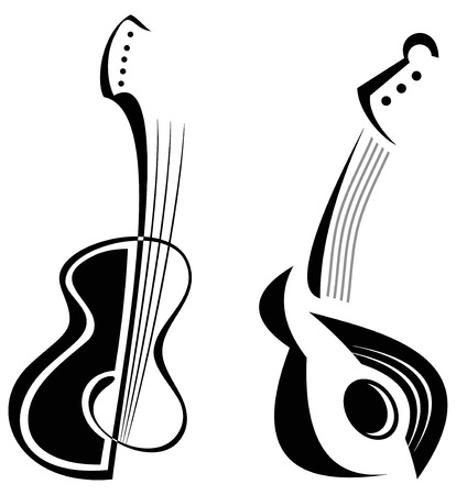 accord: Two guitars - stylized black  and white image of string musical instruments.  Illustration