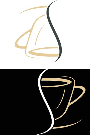 The cup of coffee divided into two halves - stylized image. Illustration can be used to design menu restaurant or cafe. Vector
