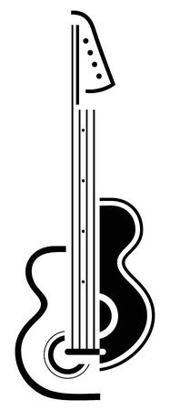 rock logo: Guitarra el�ctrica - blanco y negro estilizada ilustraci�n.