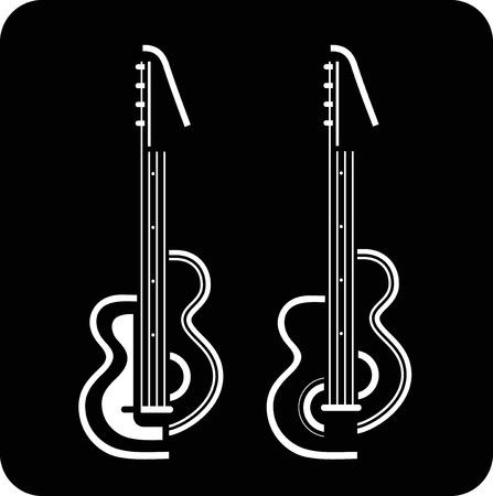 rock logo: Dos guitarras el�ctricas en ilustraci�n de fondo negro. Puede utilizarse como logotipo para su empresa.  Vectores