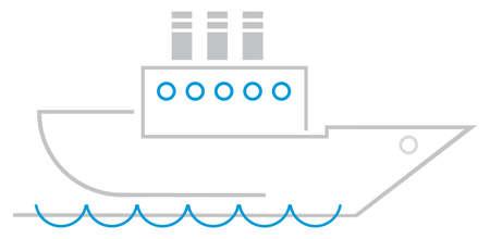 Stylized image of sailing ocean liner. Sailing boat. Color illustration, design element. Symbol, sign.  Vector