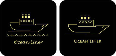 Stylized image of sailing ocean liner. Sailing boat. Vector illustration, design element. Symbol, sign. Can be used as logo for Your Company. Ocean and sea travel. Isolated, black background. Logotype. Vector