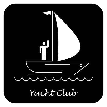 yacht club: Sailing boat. Sailboat on dark blue background. Yacht that sails on the waves. Stylized image of the floating boats with blue sails, yellow and red flags. Can be used as logotype of yacht club, marine club, hotel, etc.