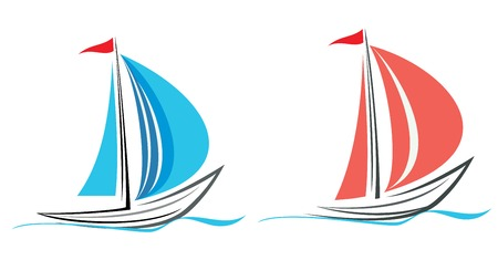 yacht club: Sailing boat. White sailboat on the blue water. Yacht that sails on the waves. Stylized image of the floating boats with blue or pink sails and red flag. Can be used as logotype of yacht club, marine club, hotel, etc. Illustration