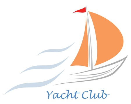 Sailing boat. White sailboat. Stylized image of the floating boats with pink sails and red flag. Can be used as logotype of yacht club, marine club, hotel, etc.