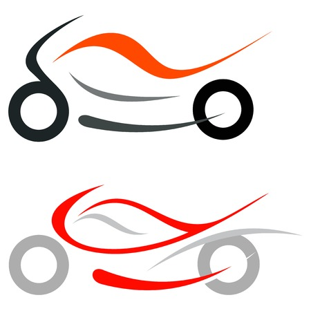 motorcycle racing: Motorcycle on white background  Illustration
