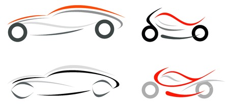 motorcycle racing: Motorcycle and sportive car on white background  Illustration
