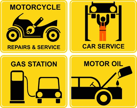 A set of signs for car and motorcycle service, shop or fuel station. Yellow and black icons. Isolated illustration. Vector