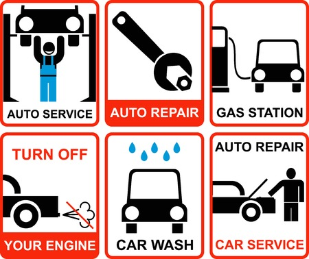 Set of red and white vector signs for auto service. Auto repair, Gas station, Car wash, Turn off your engine.