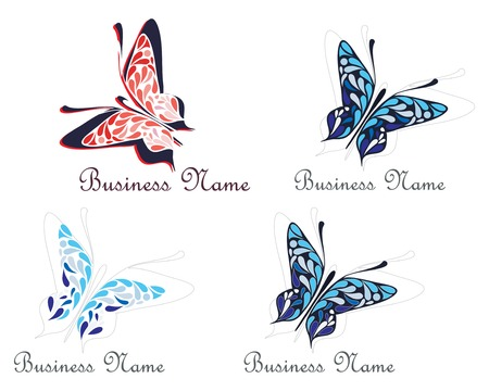 Flying butterfly - business name sign. Vector illustration, symbol - place for company name and slogan.